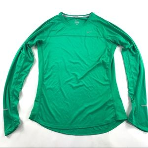 Nike Miler Long Sleeve Running Shirt Green